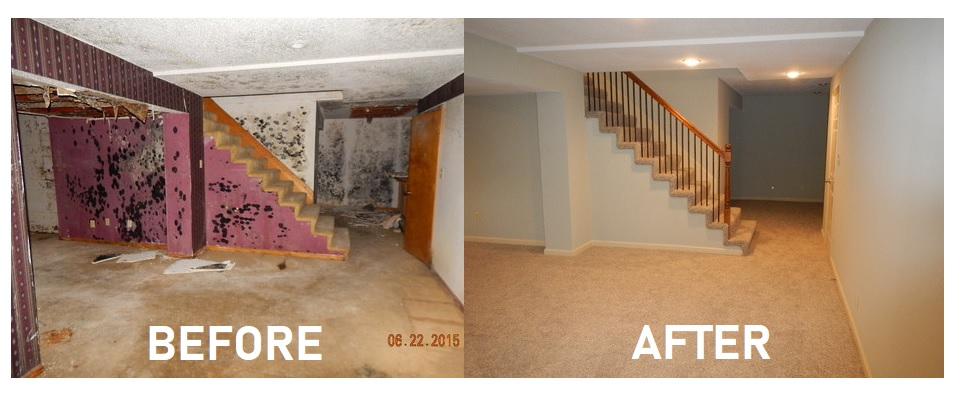 water damaged basement restored to new