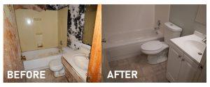 water damaged bathroom restored