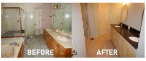 water damage restoration master bathroom